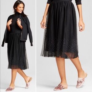 A New Day Rhinestone Sparkle Black Tulle Skirt